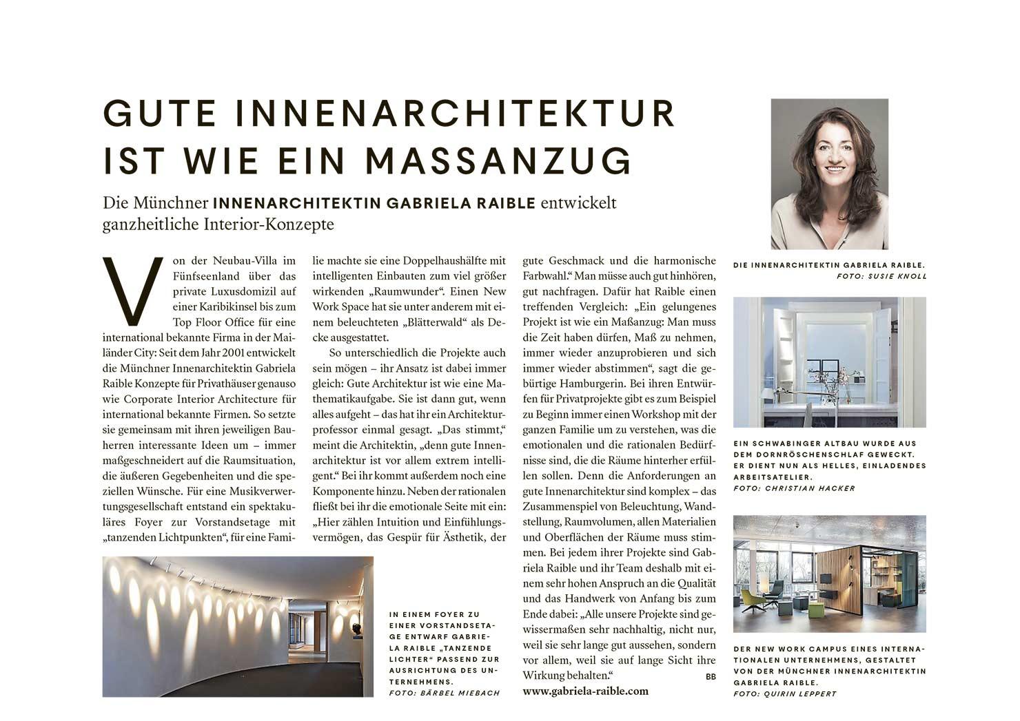 Gabriela Raible innenarchitektur MÜNCHEN ... Beitrag in der Süddeutschen Zeitung